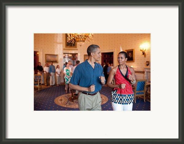 President And Michelle Obama Pretend Framed Print By Everett