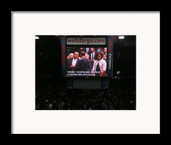 President And Michelle Obama Tucson Framed Print By Jayne Kerr