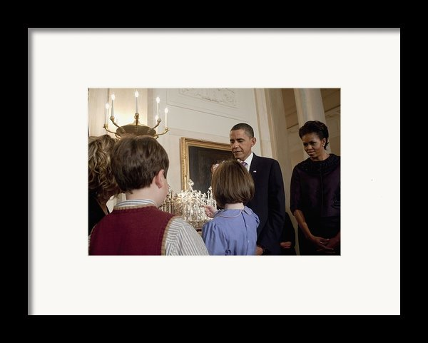 President And Michelle Obama Watch Framed Print By Everett