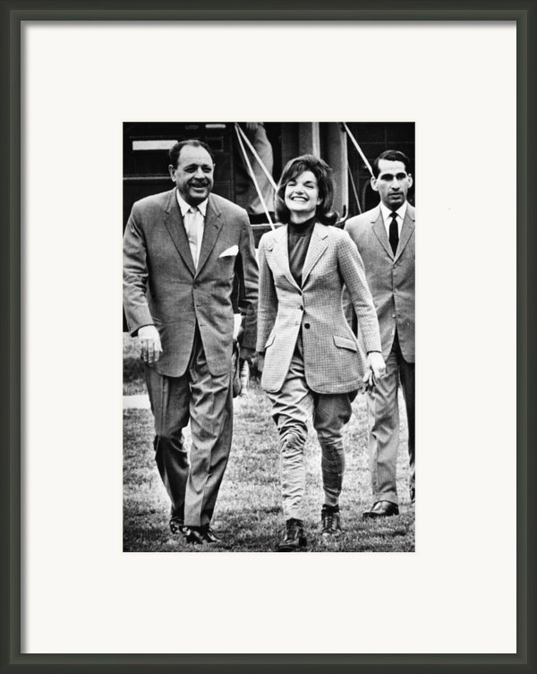 President Ayub Khan Left, Of Pakistan Framed Print By Everett