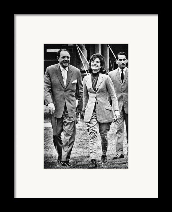 President Ayub Khan Left, Of Pakistan Framed Print By Everett