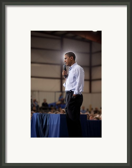 President Barack Obama At A Town Hall Framed Print By Everett