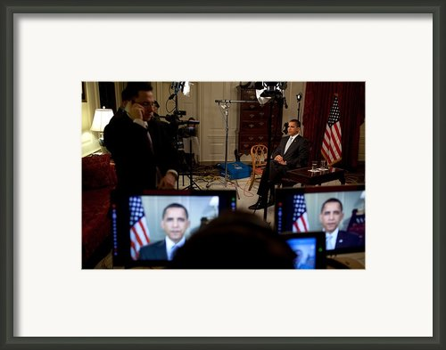 President Barack Obama Conducting Framed Print By Everett