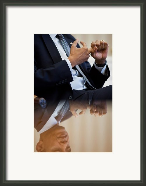 President Barack Obama Gestures Framed Print By Everett