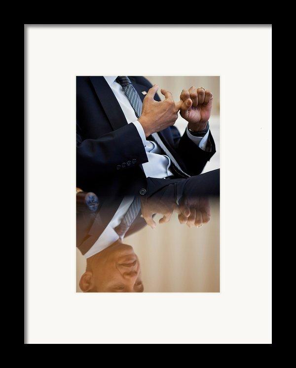 President Barack Obama Gestures Framed Print By Everett