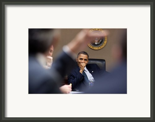 President Barack Obama Laughs Framed Print By Everett