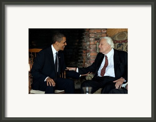 President Barack Obama Meets With Rev Framed Print By Everett