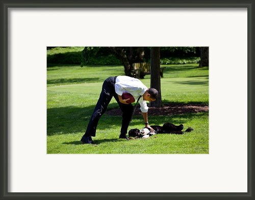 President Barack Obama Pets The Family Framed Print By Everett