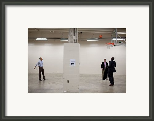 President Barack Obama Shoots Baskets Framed Print By Everett