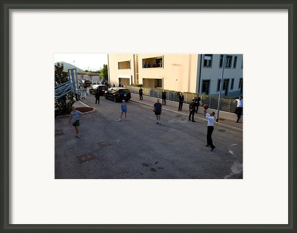 President Barack Obama Shoots Hoops Framed Print By Everett