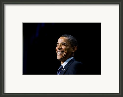 President Barack Obama Smiles While Framed Print By Everett