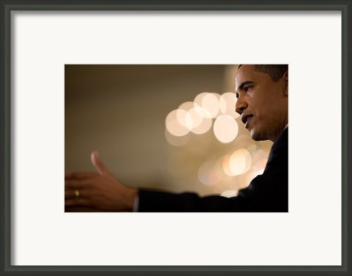 President Barack Obama Speaks Framed Print By Everett