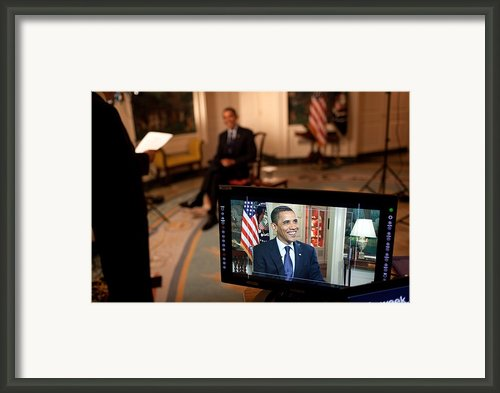 President Barack Obama Tapes The Weekly Framed Print By Everett