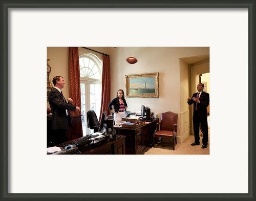 President Barack Obama Tosses Framed Print By Everett