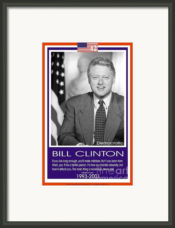 President Bill Clinton Framed Print By  Blackmoxi