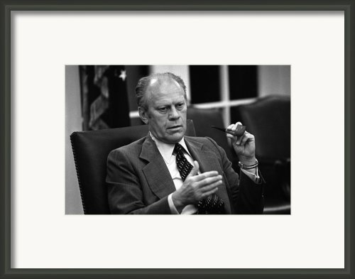 President Ford During A National Framed Print By Everett