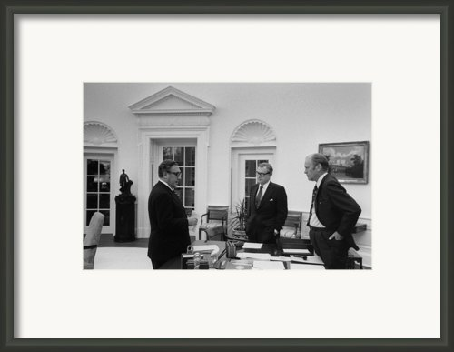President Ford With Sec. Of State Henry Framed Print By Everett