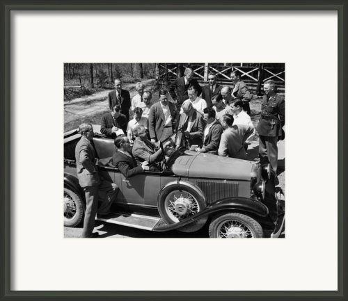 President Franklin D. Roosevelt In Car Framed Print By Everett