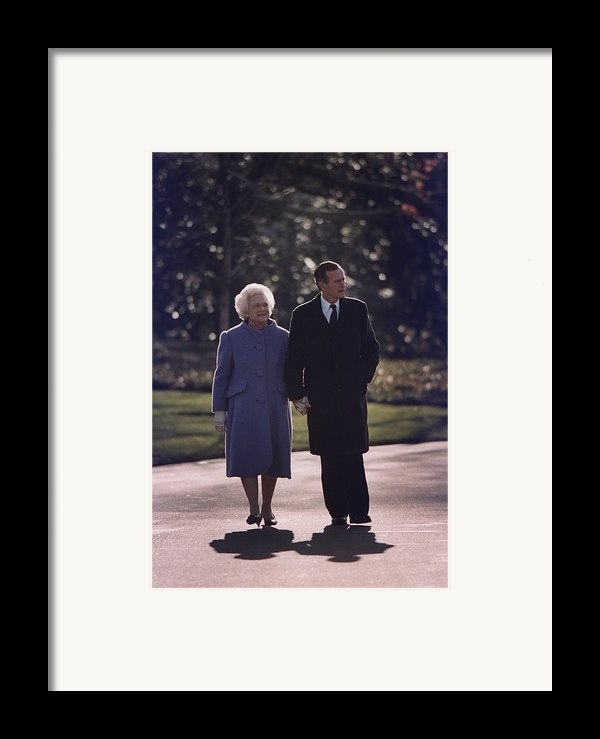 President George And Barbara Bush Take Framed Print By Everett