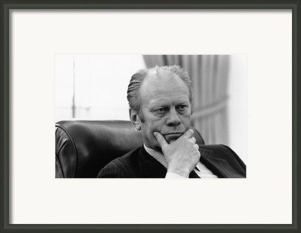 President Gerald Ford Listening Framed Print By Everett