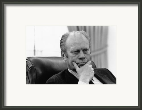 President Gerald Ford Listening Framed Print By Everett