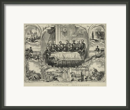 President Grant With Group Of Men Framed Print By Everett