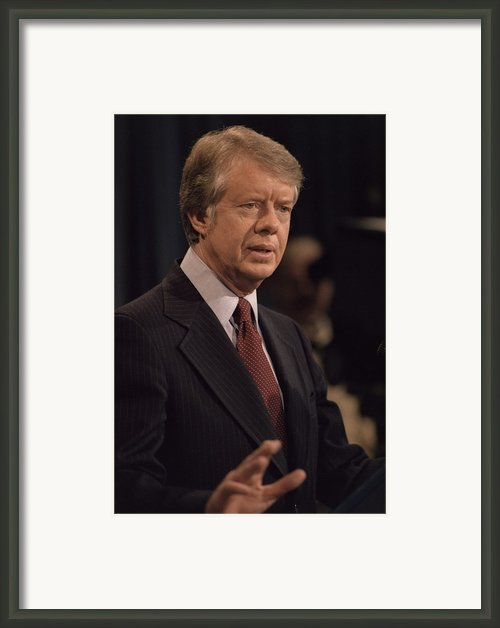 President Jimmy Carter Speaking Framed Print By Everett