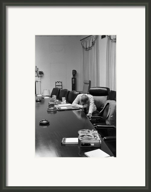 President Johnson Appears Agonized Framed Print By Everett
