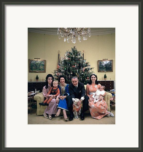President Johnsons Family Celebrating Framed Print By Everett