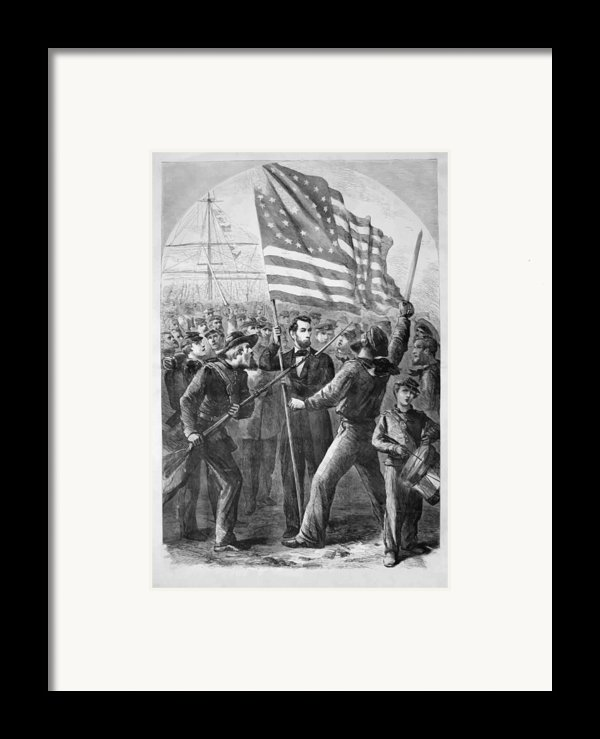 President Lincoln Holding The American Flag Framed Print By War Is Hell Store