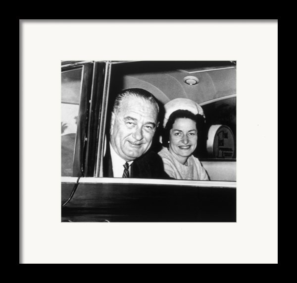 President Lyndon B. Johnson And First Framed Print By Everett