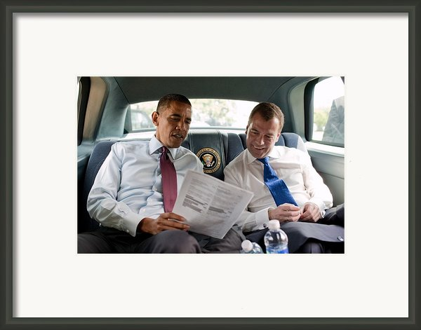 President Obama And Russian President Framed Print By Everett