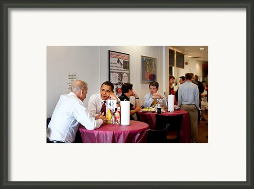 President Obama And Vp Joe Biden Wait Framed Print By Everett