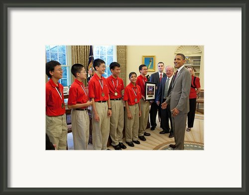 President Obama Greets Mathcounts Framed Print By Everett