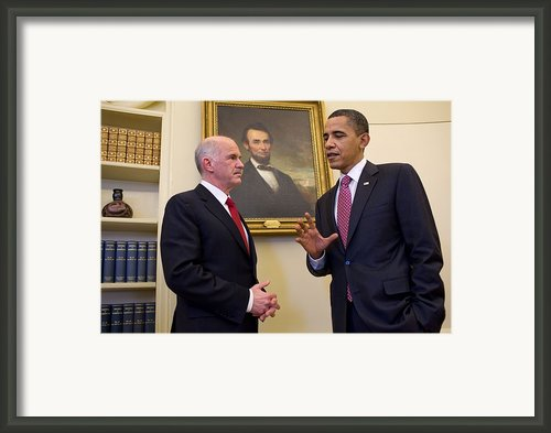 President Obama Meets With Greek Prime Framed Print By Everett
