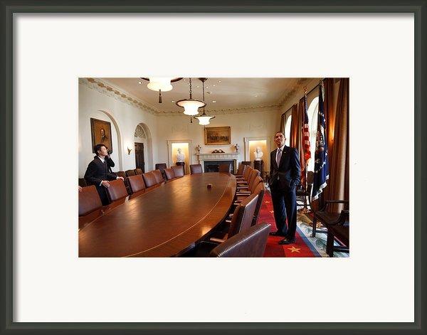 President Obama Surveys The Cabinet Framed Print By Everett