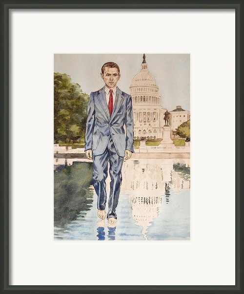 President Obama Walking On Water Framed Print By Andrew Bowers