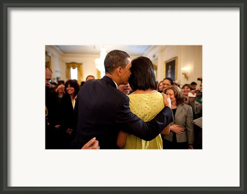 President Obama Whispers Into Michelles Framed Print By Everett