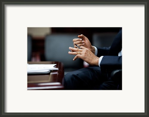 President Obamas Hands Gesture Framed Print By Everett