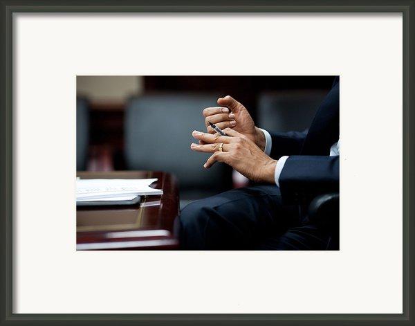 President Obamas Hands Gesture Framed Print By Everett