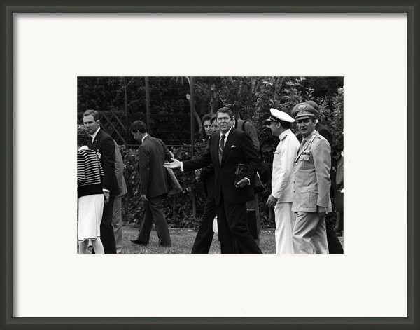 President Reagan Gestures To Members Framed Print By Everett