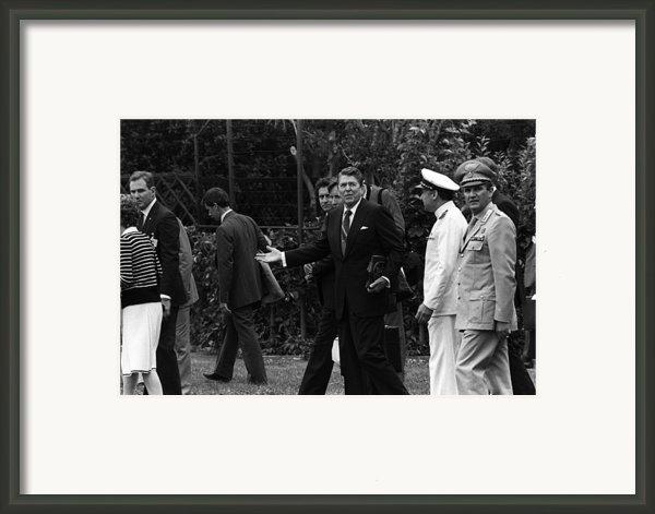 President Reagan Gestures To Members Framed Print By Everett