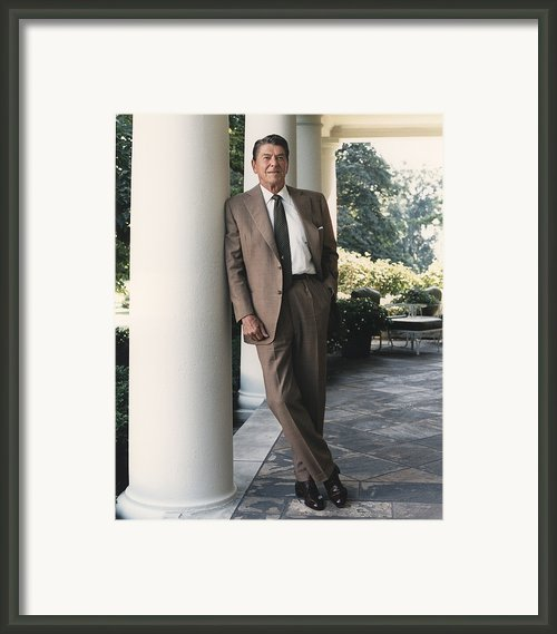 President Reagan On The White House Framed Print By Everett