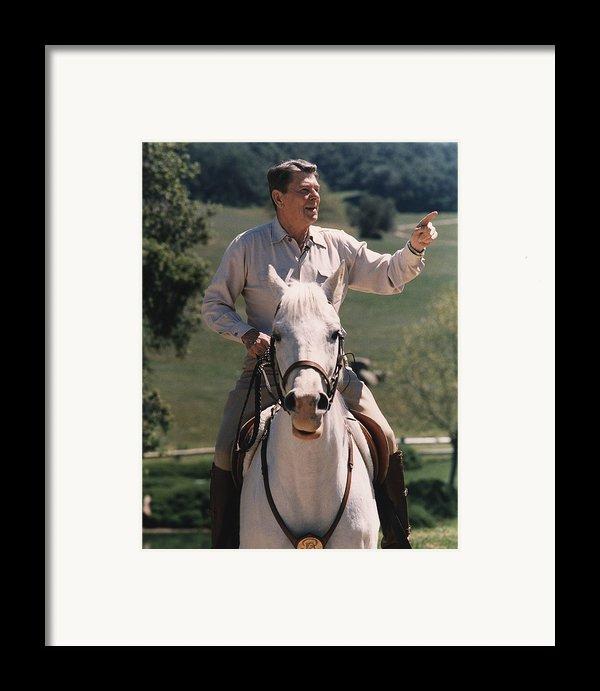President Reagan Riding His Horse El Framed Print By Everett