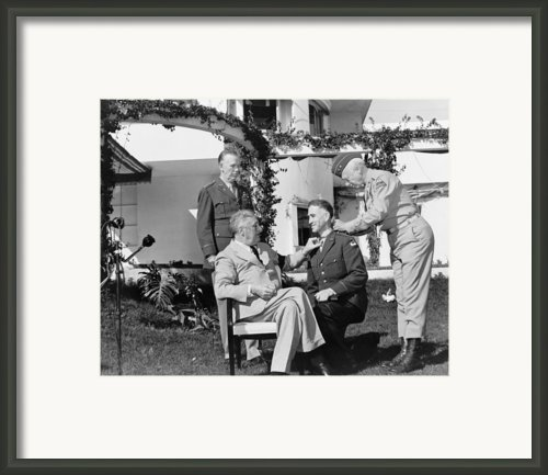 President Roosevelt With Major General Framed Print By Everett
