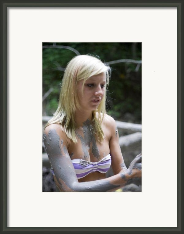 Pretty Blond Teenage Girl Playing In The Mud Framed Print By Purcell Pictures
