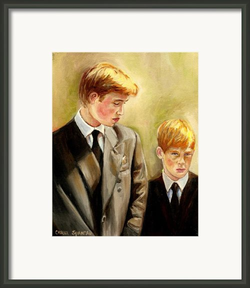 Prince William And Prince Harry Framed Print By Carole Spandau