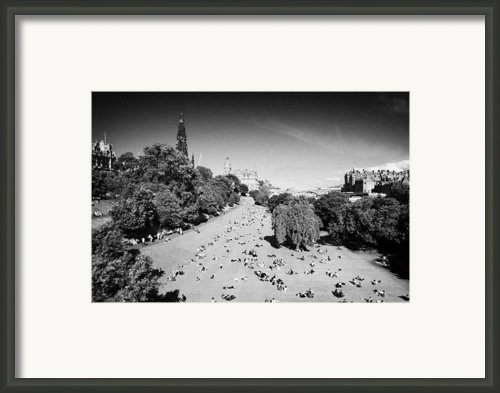 Princes Street Gardens On A Hot Summers Day In Edinburgh Scotland Uk United Kingdom Framed Print By Joe Fox