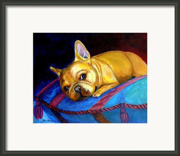 Princess And Her Pillow French Bulldog Framed Print By Lyn Cook