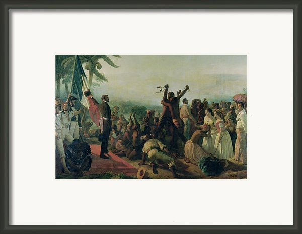 Proclamation Of The Abolition Of Slavery In The French Colonies Framed Print By Francois Auguste Biard
